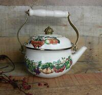 KENSINGTON GARDEN Teapot Kettle Enamelware Ceramic Fruit Motif