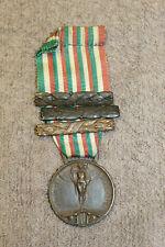Original Ww1 Kingdom of Italy Italo-Austrian War Medal w/Ribbon & 3 dated Claps
