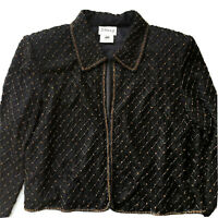Stenay Black Sequin and Beaded Silk Womens Jacket Size Large 100% Silk