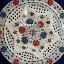 """12"""" White Marble Serving Plate Grill Lapis Floral Inlay Dining Decor Gifts H3280"""