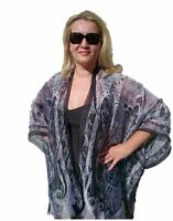 Women's Plus Size Black & White Silk Kimono New Look Cape Beach Coverup Overlay