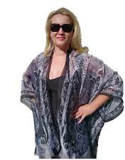 Women's Plus Size Black & White Silk Kimono New Look Cape Beach Coverup Overlay