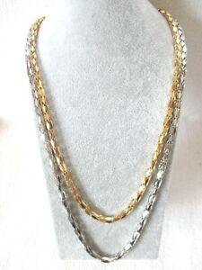 10 edle lange Halsketten, chices Design, 2-reihig in bi-color, gold-rodiumfarben