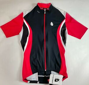 Mens Short Sleeve Cycling Jersey in Red/Black - Made in Spain by ETXEONDO Size S