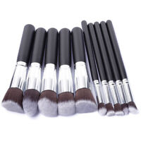 10pcs Pro Makeup Brush Set Cosmetic Foundation Blending Brushes Kabuki Black NEW