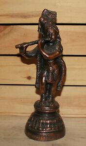 Vintage hand made metal Hindu statuette Krishna