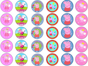 PEPPA PIG INSPIRED 30 x 1.5'' ROUND EDIBLE WAFER CUPCAKE TOPPERS