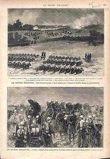 Manoeuvres Militaires Soldats Saint-Vincent-des-Bois Château-Landon GRAVURE 1875