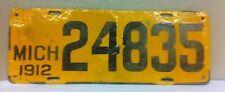 1912 MICHIGAN Vintage Porcelain License Plate (24835)