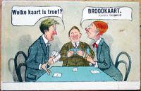 1915 Playing Card Postcard: Dutch Men Gambling/Playing Poker