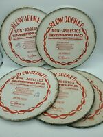 """5 Vintage Old New Slow Cooker Simmering Pads Non-Asbestos, 8"""" Tin Bottoms NOS"""