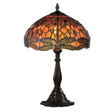 Große Tiffany Tischlampe DRAGONFLY mit Libellen in Orange