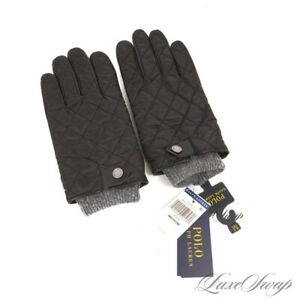NWT Polo Ralph Lauren Black Techno Quilted Leather Palm Grey Knit Cuff Gloves M