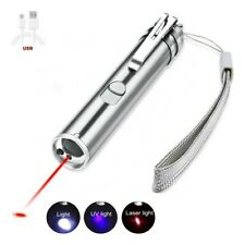 Cat Laser Pointer Flashlight Usb Pen Rechargeable 3-in-1 Pet Toy Red Uv