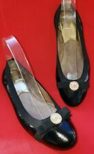 Michael Kors Ballet Flats  8.5M Black Leather, Patent Toe MK Gold Ornament Bow