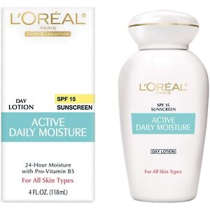 LOREAL ACTIVE DAILY MOISTURE - DAY LOTION SPF 15 - 24 HOUR MOISTURE - 4 OZ - NEW