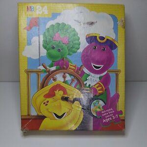 "1996 Milton Bradley "" Barney "" 24 Jumbo Extra Thick Piece Jigsaw Puzzle. Age 3-7"