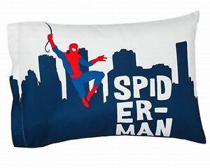 Marvel Spider-Man Standard Pillowcase Reversible Hero Sleeps Blue Gray Kids New