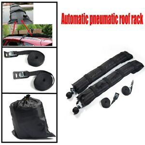 2x Car Roof Rack Soft Self Inflatable Luggage Carrier w/ Rope Black Practical