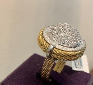 "CHARRIOL ""CELTIC CLASSIQUE "" SAPPHIRE & DIAMOND CABLE RING 02-37-S242-21"