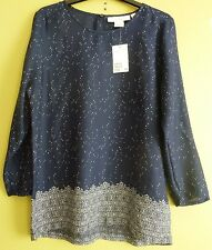 H&M Womens 3/4 Sleeve Patterned Blouse Top Size 12 UK Dark Blue