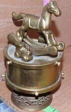 Vintage Brass music box rotating windup kids rocking horse, train and bear