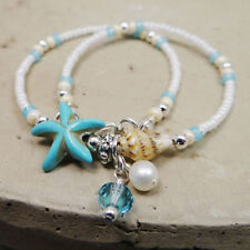 Beach Conch Chain Anklet Bracelet Jewelry Boho Shell Starfish Silver Pearl Beads