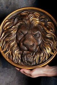 Wood Carved Lion Head Round Rosette 100% NATURAL MATERIAL
