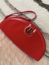 Giorgio Armani Beauty Make Up Cosmetic Bag Red Travel Zipper Texture Pouch NWT