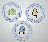 """Three Matching Casafina Hand painted Chair Plates Decorative Portugal 7.75"""""""