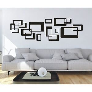 Wandtattoo Ornament Retro Quadrate Cubes Wandsticker Wandaufkleber Sticker1