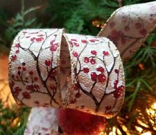 """Frosted Glitter Berries Wire edged Wired Christmas  Ribbon 1.5"""" x 3m"""