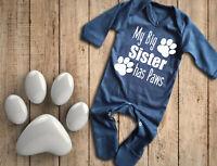 My big Sister has Paws long sleeve Navy Blue BabyGrow Rompersuit Bodysuit