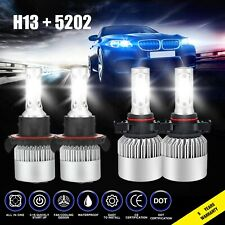 4x Combo H13 5202 LED Headlight Bulbs for GMC Yukon XL 1500 07-14 Foglight 3810W