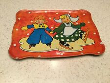 Vintage Tin Litho Tea Set Tray Dutch  boy Girl Skating Winter Wonderland