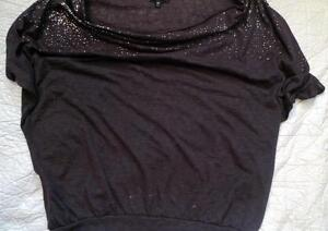 Women's XS Express Brown Cap Sleeve Loose Top with Bling Sparkles