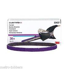 "3M 33437 3/8"" X 13"" Cubitron II 36+ Grade File Belts 10 Per Box + Free Gloves"