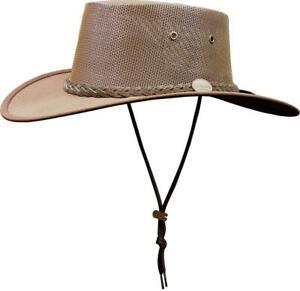 BARMAH BROWN CANVAS DROVER FOLDAWAY COOLER HAT 1057