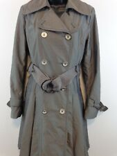 Donatella Double Breasted Belted All Weather Trench Coat Women Small Grey