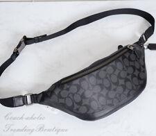 NWT Coach F78777 Warren Belt Bag Fanny Pack in Signature Canvas Charcoal/Black
