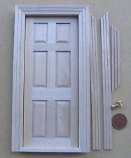 Muñeca casa miniatura Solo 6 Panel Acabado Natural De Madera Puerta & 2 Tiradores De Metal