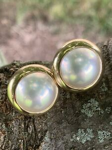 Tiffany & Co 14K Mabe Pearl Earrings 18mm 11.1 Grams Omega with Posts