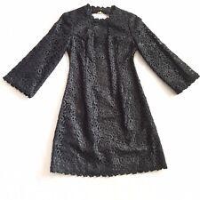 Kate Spade Black Lace Quinn Mini Cocktail 3/4 Sleeve Dress Size 6