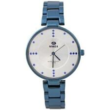 Marea elegante Damen Armbanduhr mit blauem Edelstahlarmband und Zirkonia