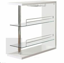 Two-Shelf Contemporary Glossy White Bar Unit with Wine Holder