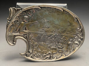 Early Hamburg 800 Silver Card Tray Figural Palette