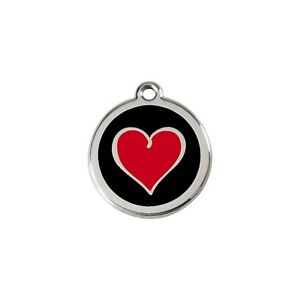 Red Dingo Stainless Steel ID Dog Tag Charm Personalized Engraving HEART BLACK
