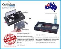 VHS to VHS-C VHSC VHS C  Tape Convertor Adaptor + VHS Head Cleaner Tape + Batt