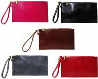 new ladies vera pelle italian leather evening clutch bag wrist strap womens bags