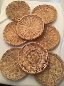 Lot of 8 Wicker Rattan Bamboo Paper Plate Holders Basket Wall Decor Boho 10""